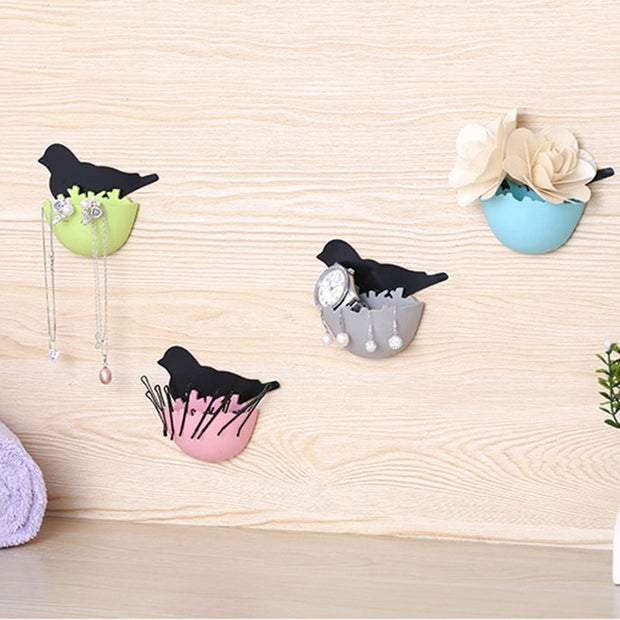 2pcs Cute Birds Sea Lions Design Plastic Storage Box Key Holder Jewelry Case Toothbrush Holder Rack Organizer Wall Decor