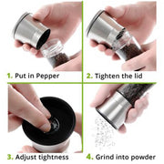 2pcs Pepper Grinder Stainless Steel Glass Salt Container Condiment Jar Kitchen Tool HG99