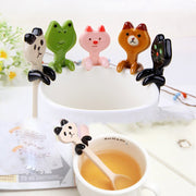 2pcs Practical Lovely Hanging Cup Cute Animal Ceramic Stirring Spoon Coffee Milk Tea Household Tableware Kitchen Accessorie
