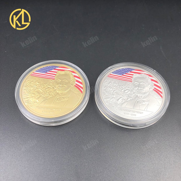 2pcs/lot The 16th President Of US Abraham Lin Coln 1861-1865 Coin Gold Silver Plated Bitcoin Coin Design Custom Challenge Coin