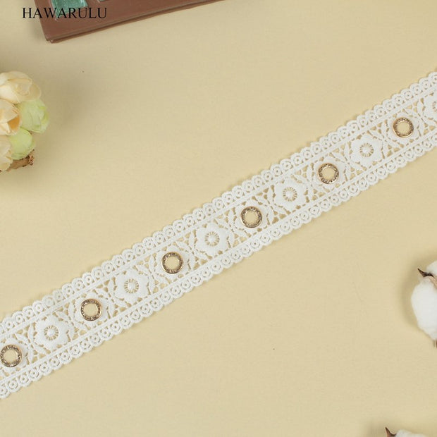 2yard 4cm DIY Rhinestone Lace Two Sided Net Cloth Embroidery Lace High Quality Hollow Water Soluble Milk Yarn Barcode Laces
