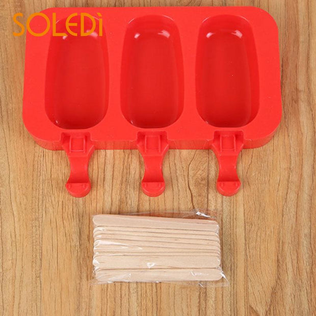 3 Grids Silica Gel Ice Cream Mold Silicone Red Portable Rabbit Cute Food Kitchen