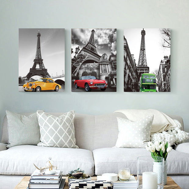 3 Piece Landscape Art Modern Paintings Tower Car Wall Pictures For Living Room Decorative Picture Wall Art Home Dector HY79