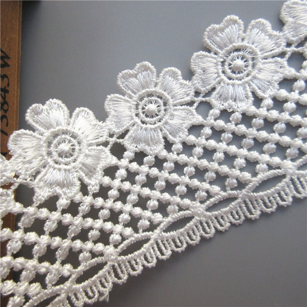 3 Yard Flower Embroidered Lace Edge Trim Ribbon Applique DIY Sewing Craft Crochet Fabric Edging Trimmings Vintage Wedding Dress