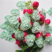 3 Yard Green Heart Bowknot Pearl Embroidered Lace Trim Ribbon Fabric Sewing Craft Patchwork Handmade For Costume Decoration