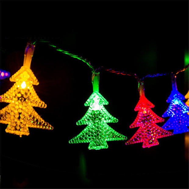 30 LEDs Window Curtain Lights Happy Christmas Tree Solar Energy String Lamp House Party Decor Holiday LED Strip Lighting