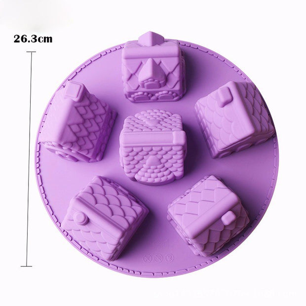 3D Christmas Tree Snow House Cake Mold Silicone Christmas 6 House Chiffon Cake Mold DIY Fondant Different House Baking Mould