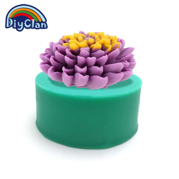 3D Chrysanthemum Silicone Molds For Cake DIY Candle Soap Mould Ice Salt Sculpture Chocolate Mold Kitchen Baking S0331HM25
