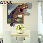 3d Wall Stickers Dinosaur Wall Decals Anime Posters Kids Children's Wall Sticker DIY Mural Wallpaper Home Decoration Accessories