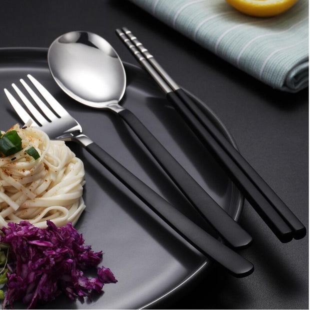 3pcs/4pcs Dinner Set Cutlery European Flatware Sets Kitchen Dinnerware 304 Stainless Steel Portable Tableware Set Back To School