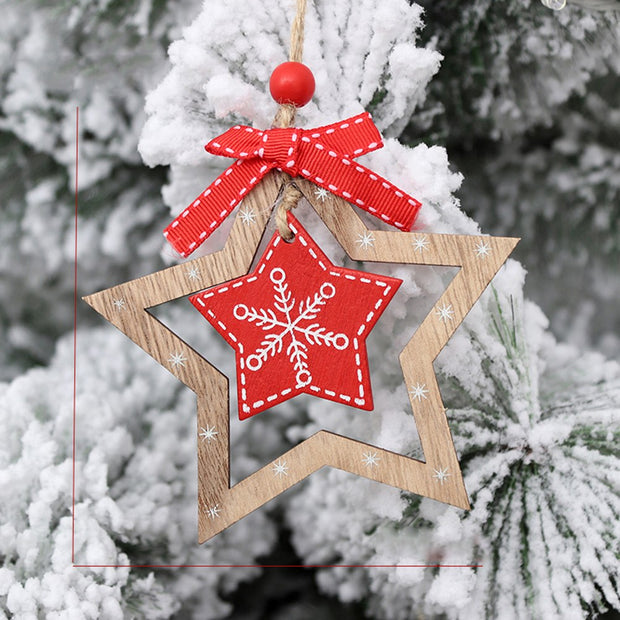 3pcs Xmas Christmas Pentagram 3D Design Wooden Handicraft Pendant Hanging Ornaments Embellishments For Tree Hotel Festival Decor