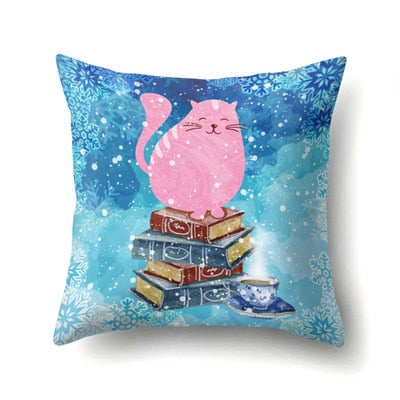 45*45cm Cute Cartoon Cover Cat Book Simple Fashion Pillowcase Giraffe Throw Pillow Case For Funda New Arrivals 2019
