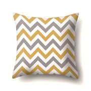 45*45cm Gray And Yellow Solid Color Stripe Square Throw Pillow Case Simple Polyester Pillowcase For Living Room Bedroom