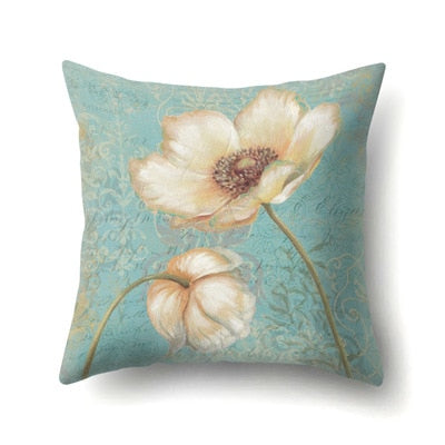 45*45cm Green Leaves Print Pillow Case Home Fashion Peony Flower Soft Cotton Pillowcase Pillowcases Fashion Gifts
