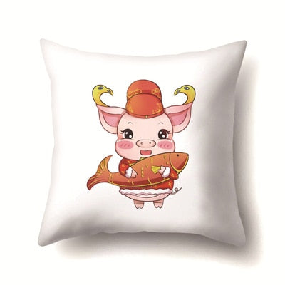 45*45cm Pillow Case Chinese Genus 2019 Pig Cute Happy New Year Geometric Pillowcase Cotton Pillow Cover For Home Bedroom