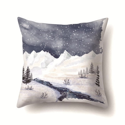 45*45cm Pillow Case Painting Christmas Tree Gift Snow Scene White Pillowcase Western Gifts For Pillowcases