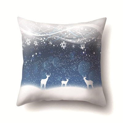 45*45cm Square Printed Cotton Square Pillow Cover Elk Pillow Case Merry Christmas Western Gifts For Pillowcases