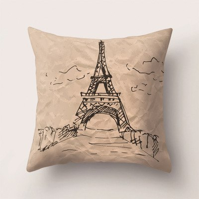 45*45cm Square Printed Retro Pillowcase Tower Bed Home High Quality Pillow Cover Western Gifts For Pillowcases