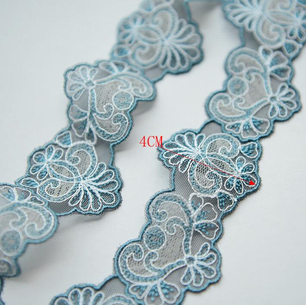 5 Meters Blue Beige Lace Trim Fabric Embroidered DIY Sewing Patchwork Accessories Apparel Lace Ribbon Craft Supplies 4cm Width