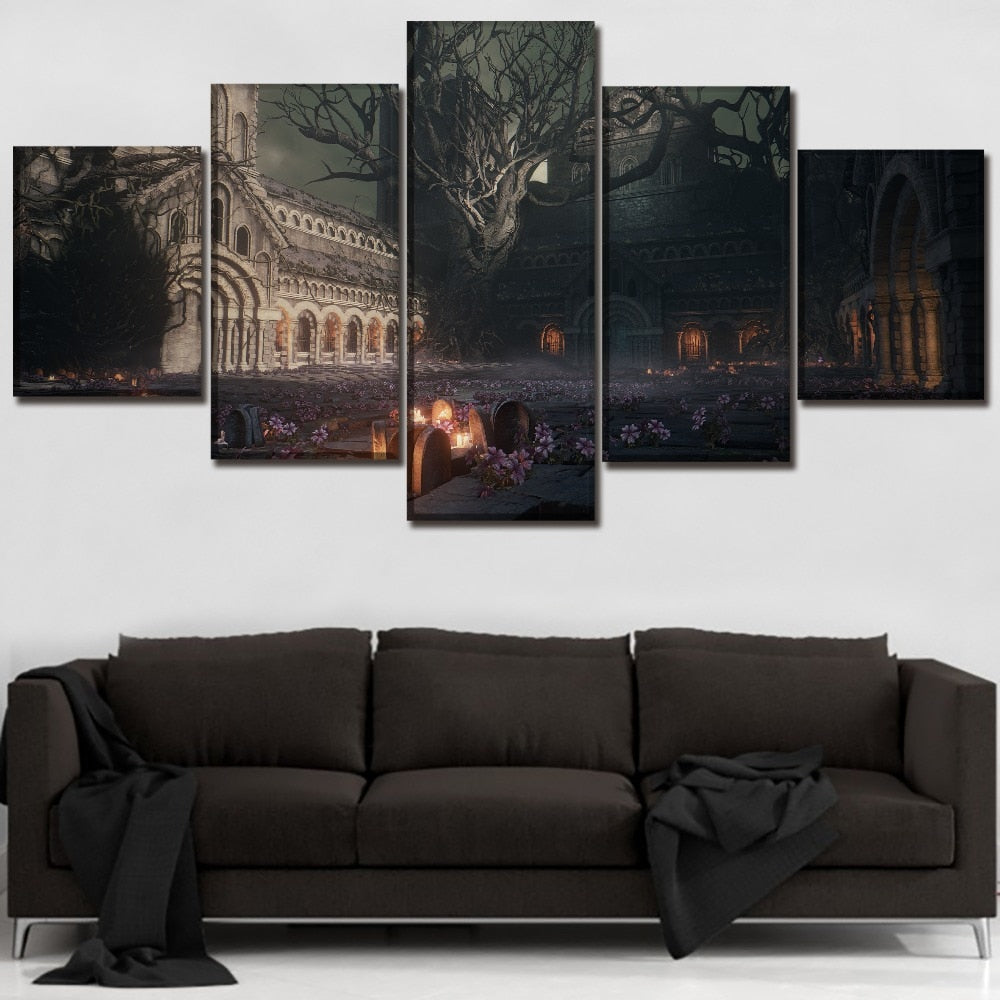 Canvas painting Wall Art Canvas Prints 5 Pieces Dark Souls Painting Wall Art Home Decor Panels Games Poster For Bed Room Frame