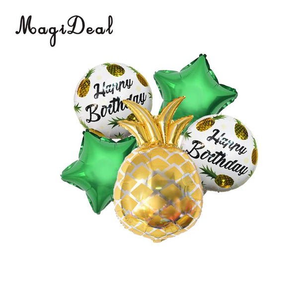 5 Pieces Metallic Pineapple Star Tropical Luau Fruit Balloon Set Hawaiian Tropical Party Decorations Photo Prop