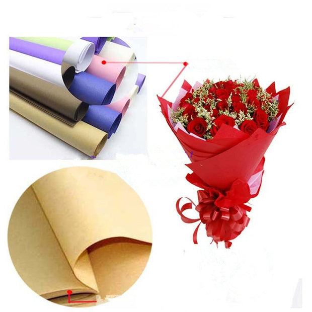 50 70cm Colours Kraft Paper Gift Packaging Flower Wrapping Paper Florist Bouquet Wrap Craft Paper Material For Christmas 10sheet