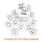 50 Pcs Bobbins And Sewing Thread With Case And 2 Pcs Soft Measuring Tapes For Brother Singer Babylock Janome Kenmore (Assorted
