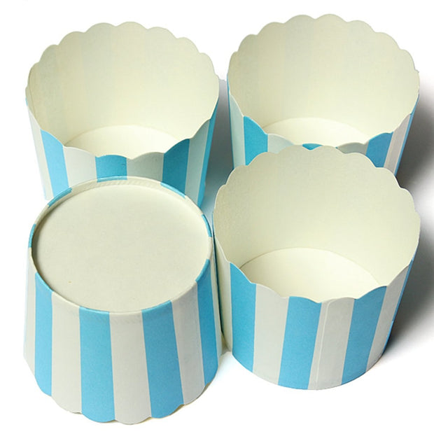 50 X Cupcake Wrapper Paper Cake Case Baking Cups Liner Muffin Kitchen Baking,Blue Striped