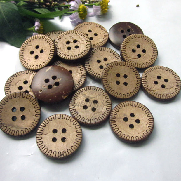 50pcs 20mm Laser Pattern Edge Coconut Coat Buttons For Sewing Eco