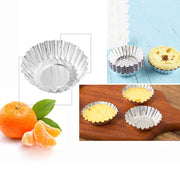 50pcs Egg Tart Maker Baking Pastry Tools Thickening Aluminum Mold Cake Jelly Mould Bakeware Home Kitchen Accessories Supplies