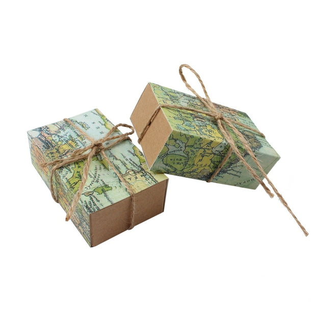 6ce03f4dc2fe 50pcs Paper Gift Boxes For Wedding Decoration Travel Theme Candy Box ...