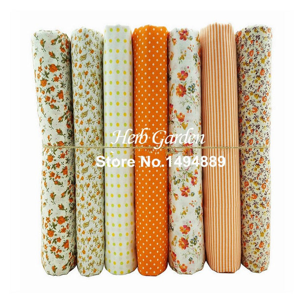 50x50cm 7pcs Orange Series 100% Cotton Plain Fabric Handmade DIY Patchwork Doll's Clothes (CR14-66)