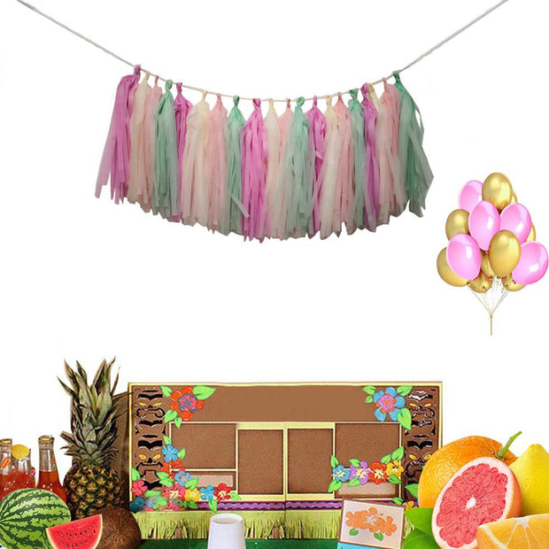 52pcs Wedding Party Decorations Summer Party Supplies Palm Leaves Hawaiian Birthday Party Jungle Beach Theme Balloon Decorations