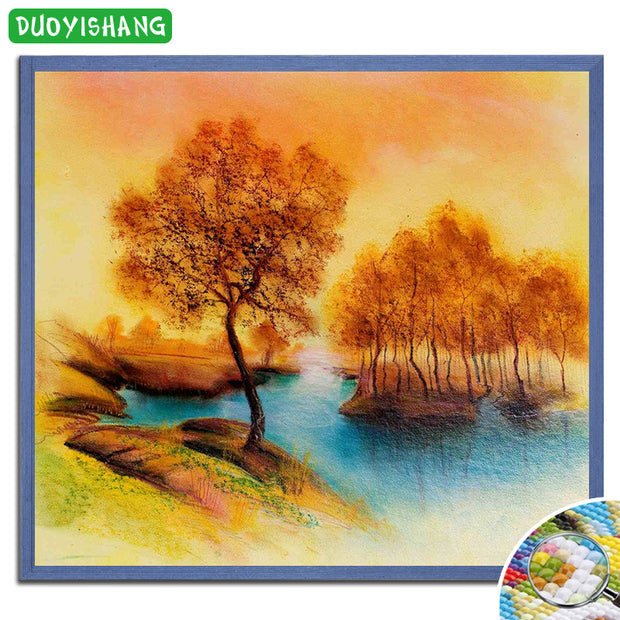5D DIY Diamond Painting Landscape Full Square Diamond Embroidery Peaceful Color Drawings Autumn Scenery Paintings Rhinestones