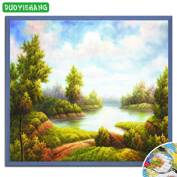 5D DIY Diamond Painting Natural Scenery Full Square Diamond Embroidery Landscape Skyblue Mosaic Painting Rhinestones Decor Home