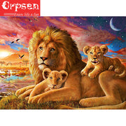 5D DIY Embroidery Square Diamond Painting Full Lions Needlework Decoration Wall Painting Cross Stitch Gift Crafts&Sewing Crpsen