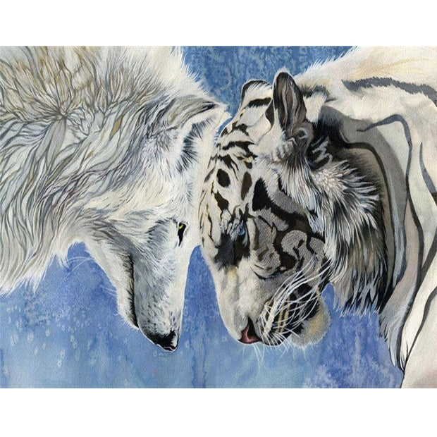 5D White Wolf & Tiger DIY FULL Square Diamond Painting Fight Animals Cross Stitch Wall Stickers Decor Gifts Diamond Embroidery