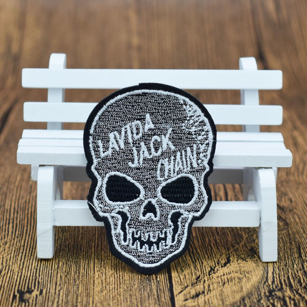 5PCS Punk Skull Patches Badges For Clothing Iron Embroidered Patch Applique Iron On Patches Sewing Accessories For Jacket DIY