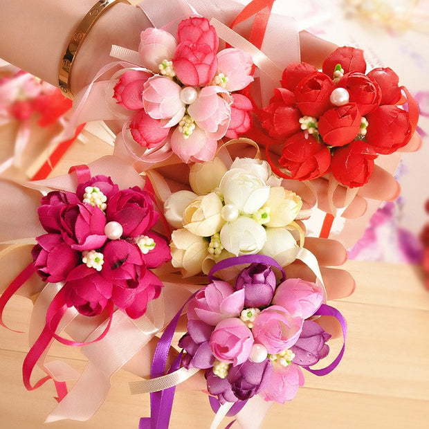 5PCS Wedding Supplies Marriage Bridesmaid Sister Group Spend Wrist Hand Flower Korean Pearl Cloth Simulation Flower Wrist