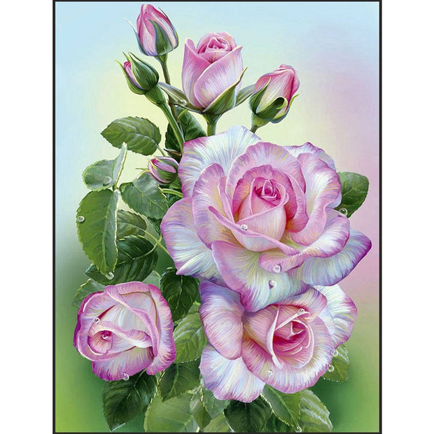 5d Diamond Painting Flowers,square/round,full Drill,diy,cross Stitch,mosaic,3d Diamond Embroidery Pink Flowers Home Decor Gift