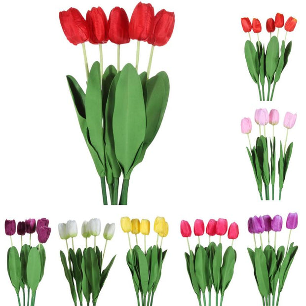 5pcs Artificial Tulip Flowers Long Stem Bouquet Beautiful Simulation Flower