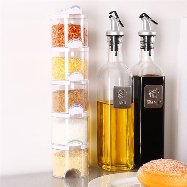 5pcs/Set Seasoning Box Kitchen Spice Storage Bottle Jars Transparent PP Salt Pepper Cumin Powder Box Tool