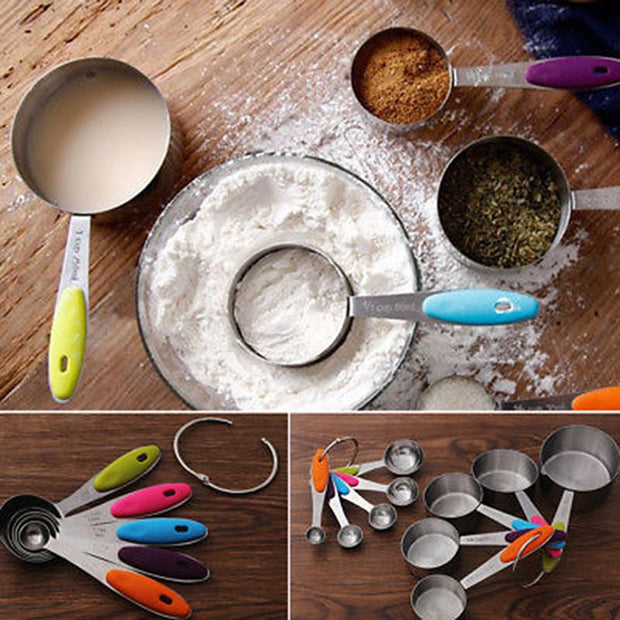 5pcs Stainless Steel Measuring Spoon Scale Kitchen Silicone Measuring Cups Spoons Set For Baking Sugar Coffee Measuring Tools