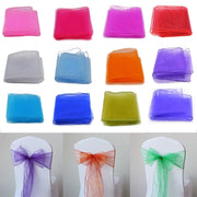 5pcs /lot 275cm(L)*18cm(W) Organza Chair Sashes Bow Cover Tulle For Weddings Events &Party Banquet Christmas Decoration 8Z