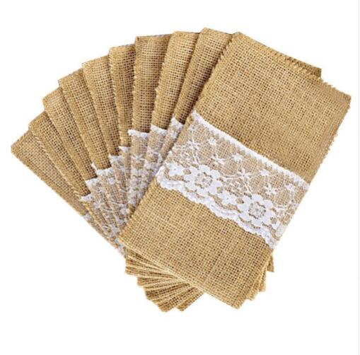 5pcs/lot Natural Jute Cutlery Knives Forks Cutlery Set Storage Bag Tableware Holder Burlap Lace Party Wedding Decoration