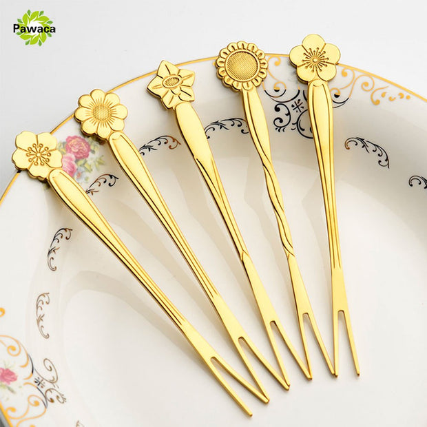 5pcs/set Stainless Steel Flower Handle Two-tine Fork Set European Style BBQ Dinner Fruit Dessert Forks Tool Tableware Accessory