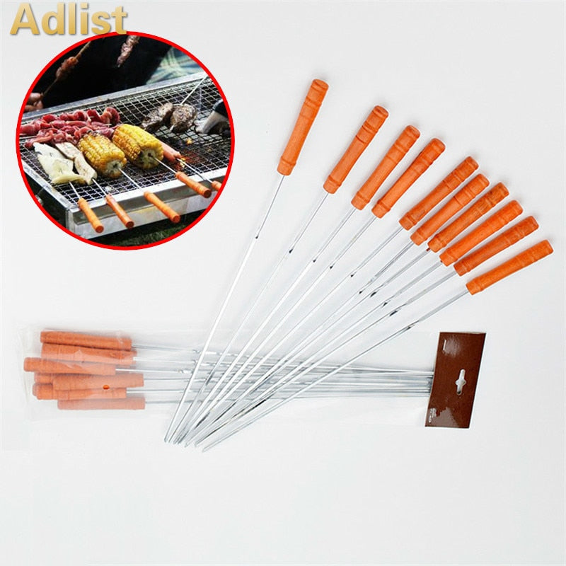 Grill Stick Needle Kebab sticks 54 CM LONG METAL BBQ Skewers WITH WOODEN HANDLE
