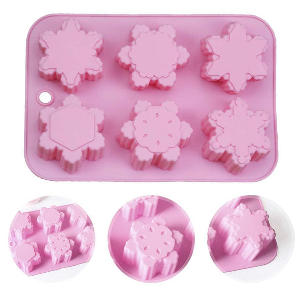 6 Grids Christmas Snowflake Shaped Silicone Fondant Chocolate Cake Mold DIY Handmade Soap Mold Baking Tools Decorating Moulds
