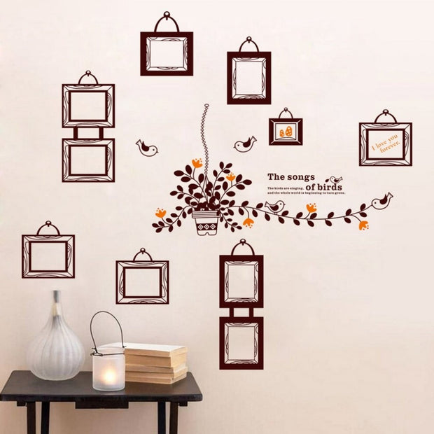60*90cm Family Photo Frame Flying Birds Plant Wall Stickers Living Room Bedroom Decals Posters Pvc Wall Decal