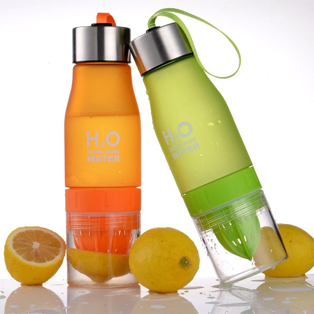 650ml H2O Lemon Juice Fruit Water Bottle Infuser Drinkware For Outdoor Sports My Shaker Bottle BPA Free Rainbow Color Bottle